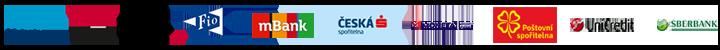 Česká spořitelna (Platba 24), Komerční banka (MojePlatba),  Raiffeisen Bank (ePlatby), Moneta Money Bank, mBank (mPeníze),  Fio banka, Československá obchodní banka (ČSOB), Poštovní spořitelna / Era, Sberbank